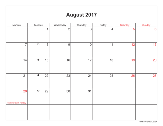 August 2017 Calendar Printable with Bank Holidays UK