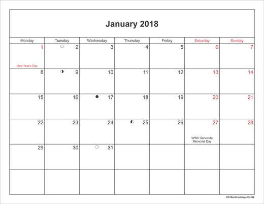 January 2018 Calendar Printable with Bank Holidays UK