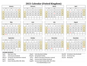 2021 uk calendar printable with holidays weeks start on sunday (landscape)