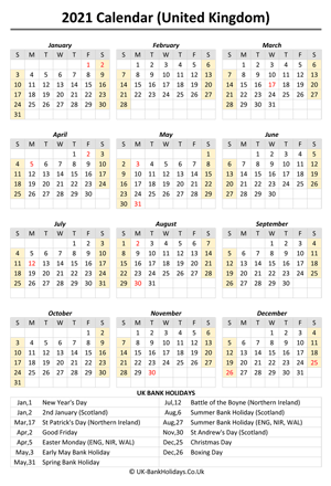 2021 uk calendar printable holidays weeks start on sunday (portrait)