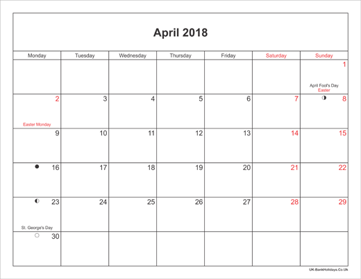 April Calendar Landscape : April calendar printable with bank holidays uk