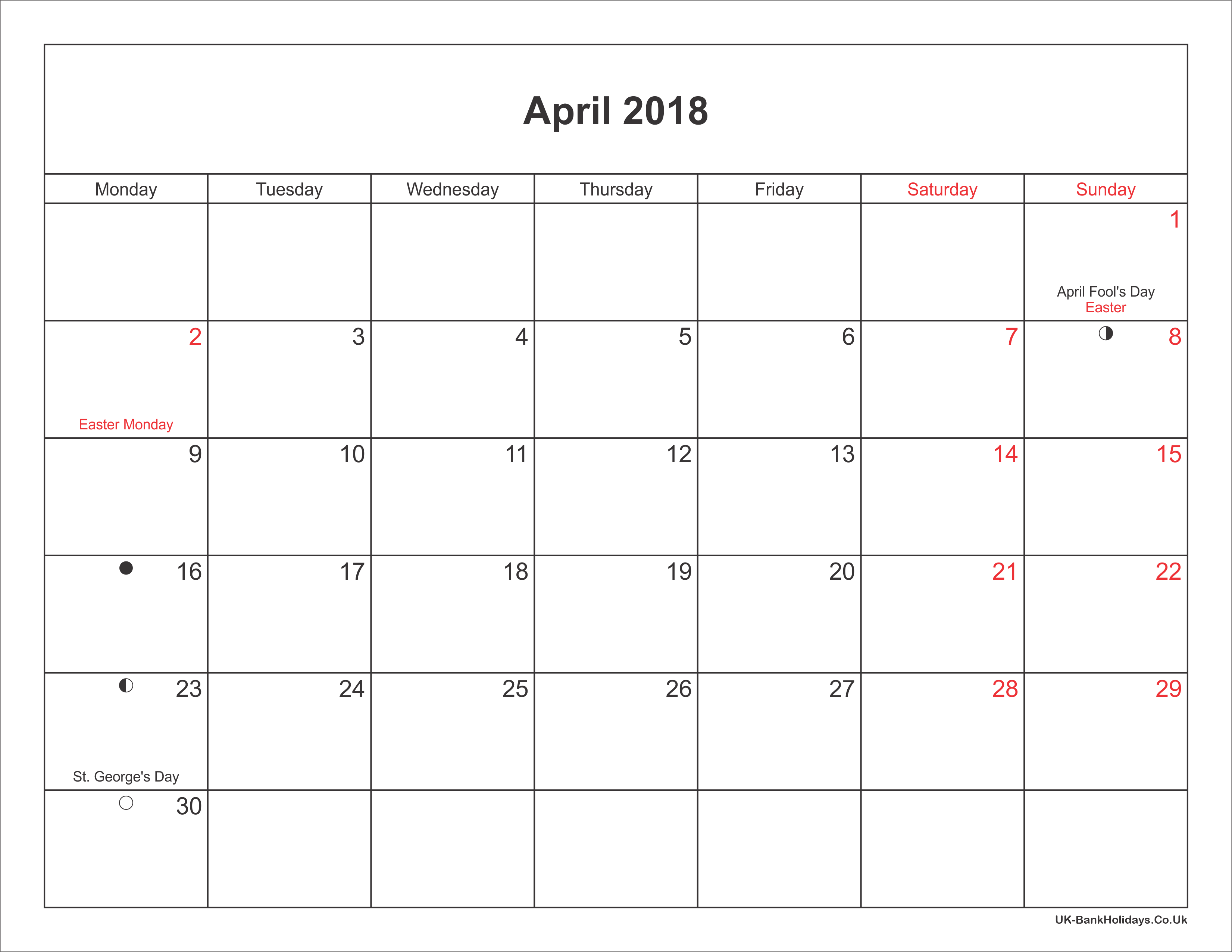 April 2018 Calendar Printable with Bank Holidays UK
