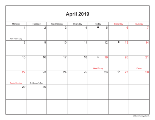 April 2019 Calendar Printable with Bank Holidays UK Landscape