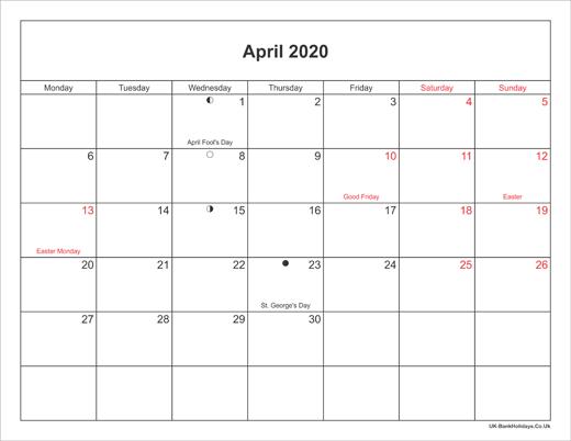 April 2020 Calendar With Holidays April 2020 Calendar Printable with Bank Holidays UK