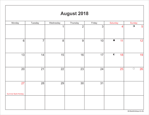 August 2018 Calendar Printable with Bank Holidays UK Landscape