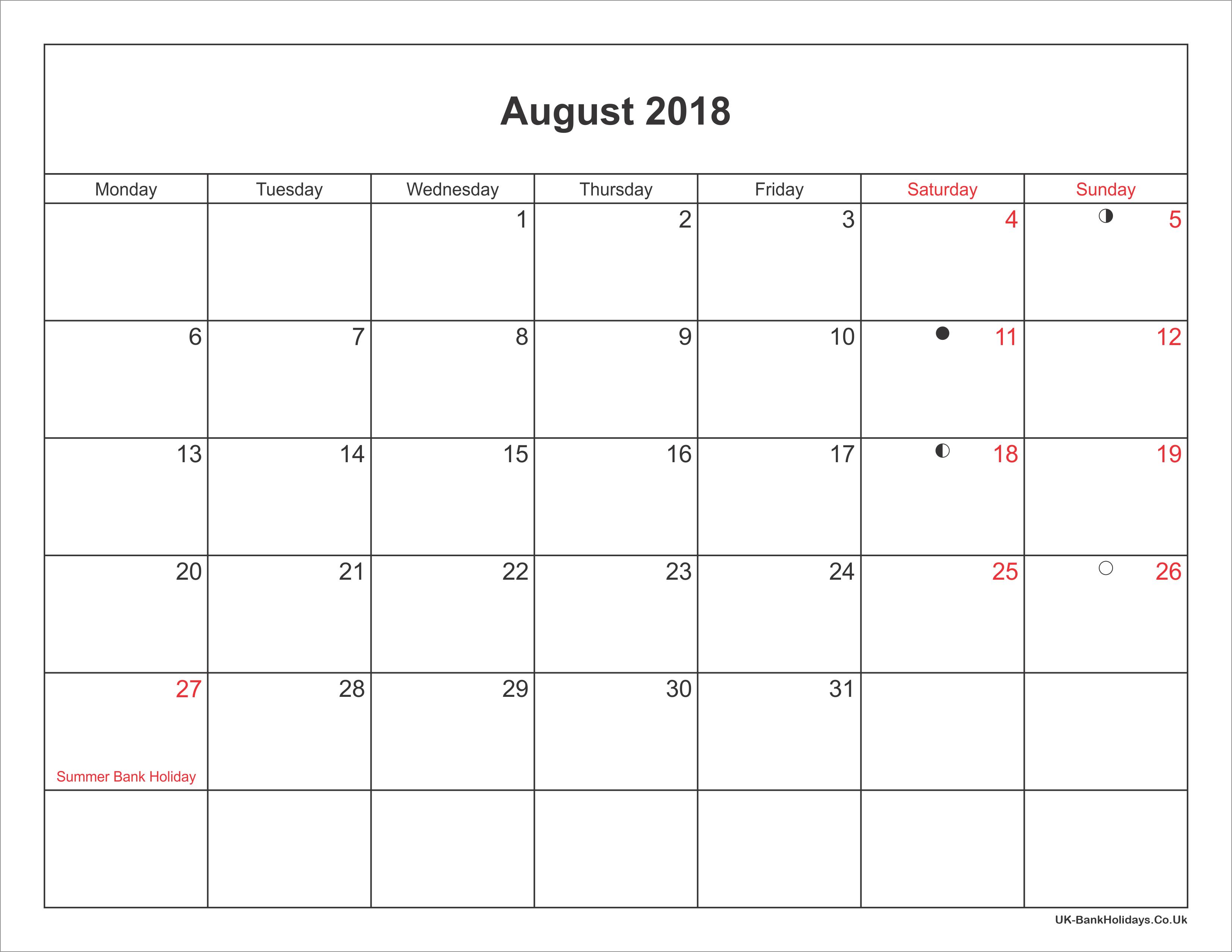 august 2018 calendar printable with bank holidays uk. Black Bedroom Furniture Sets. Home Design Ideas