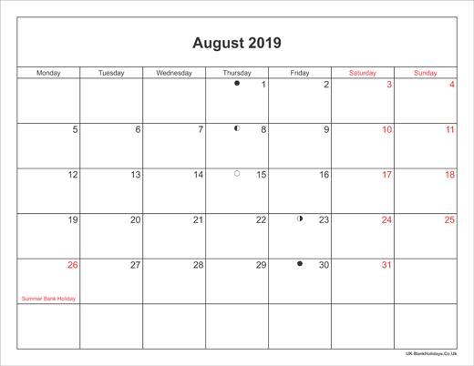 August 2019 Calendar Printable with Bank Holidays UK Landscape