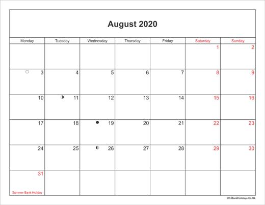 August Calendar 2020 With Holidays August 2020 Calendar Printable with Bank Holidays UK