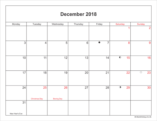 December 2018 Calendar Printable with Bank Holidays UK Landscape