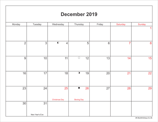 December 2019 Calendar Printable with Bank Holidays UK Landscape