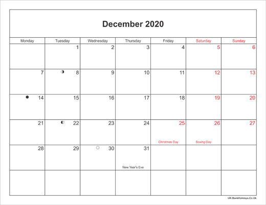 December 2020 Calendar Printable With Bank Holidays Uk