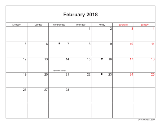 February 2018 Calendar Printable with Bank Holidays UK Landscape
