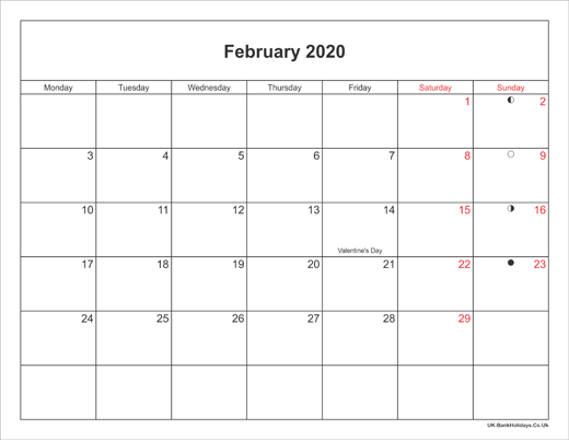 Full Size Printable February Calendar 2020 February 2020 Calendar Printable with Bank Holidays UK