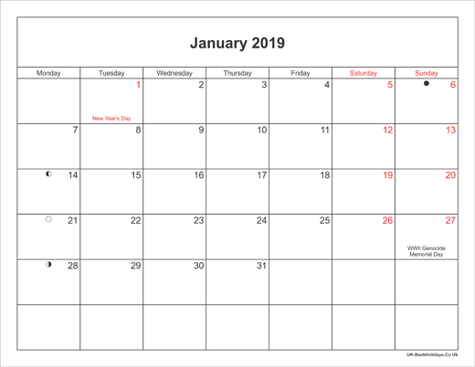 January 2019 Calendar Printable with Bank Holidays UK Landscape