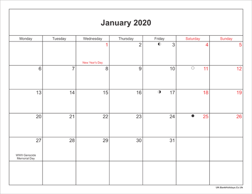 Small January 2020 Calendar January 2020 Calendar Printable with Bank Holidays UK