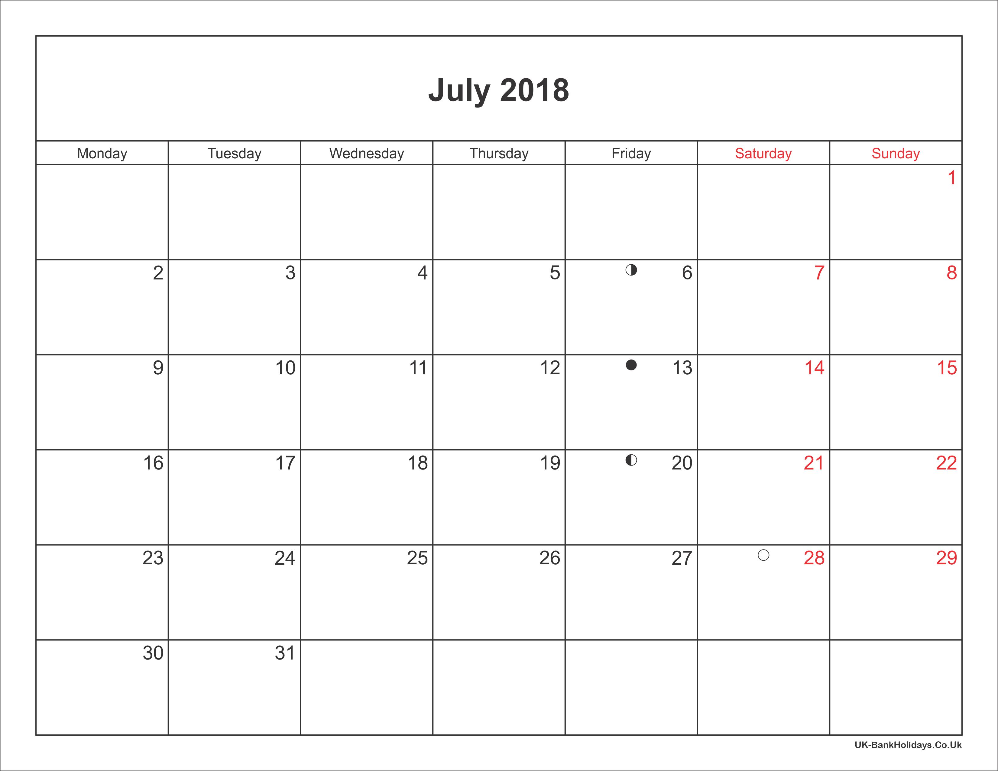 July 2018 Calendar Printable with Bank Holidays UK