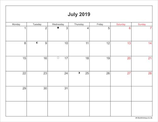 july 2019 calendar printable with bank holidays uk
