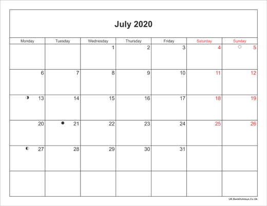 Printable Calendar July 2020.July 2020 Calendar Printable With Bank Holidays Uk