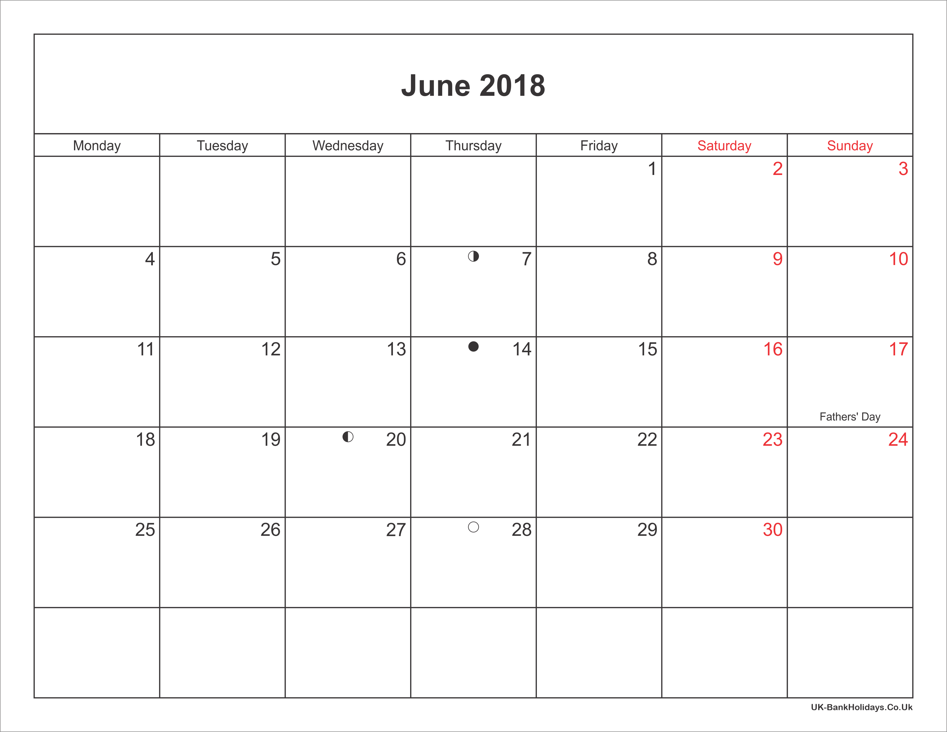 June Calendar Uk : June calendar printable with bank holidays uk