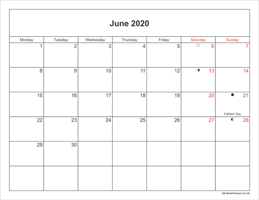 Calendar June 2020.June 2020 Calendar Printable With Bank Holidays Uk