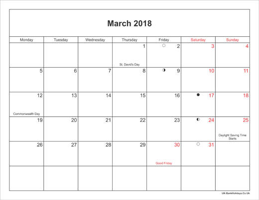 March 2018 Calendar Printable with Bank Holidays UK Landscape