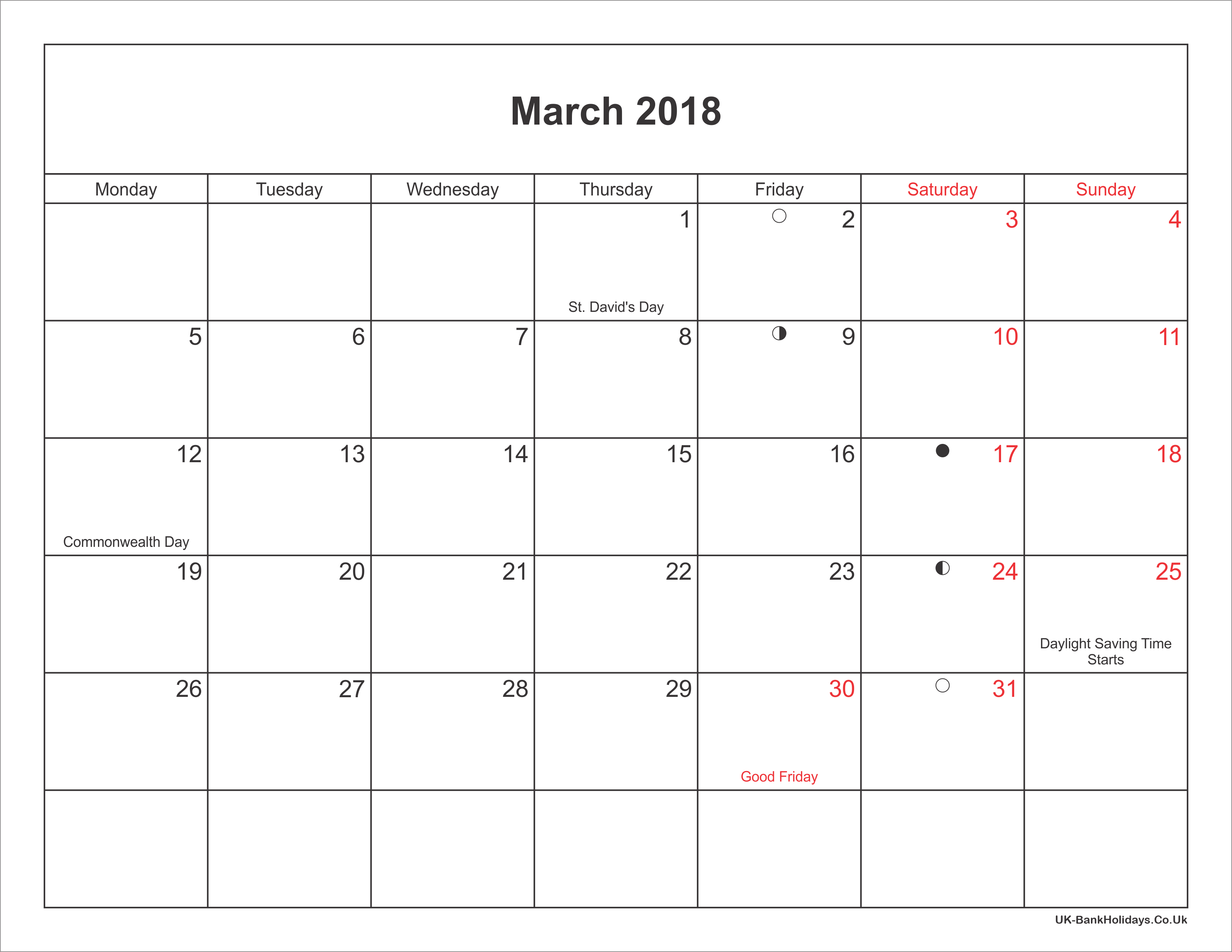 March 2018 Calendar Printable With Bank Holidays UK