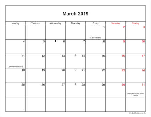 March 2019 Calendar Printable with Bank Holidays UK Landscape