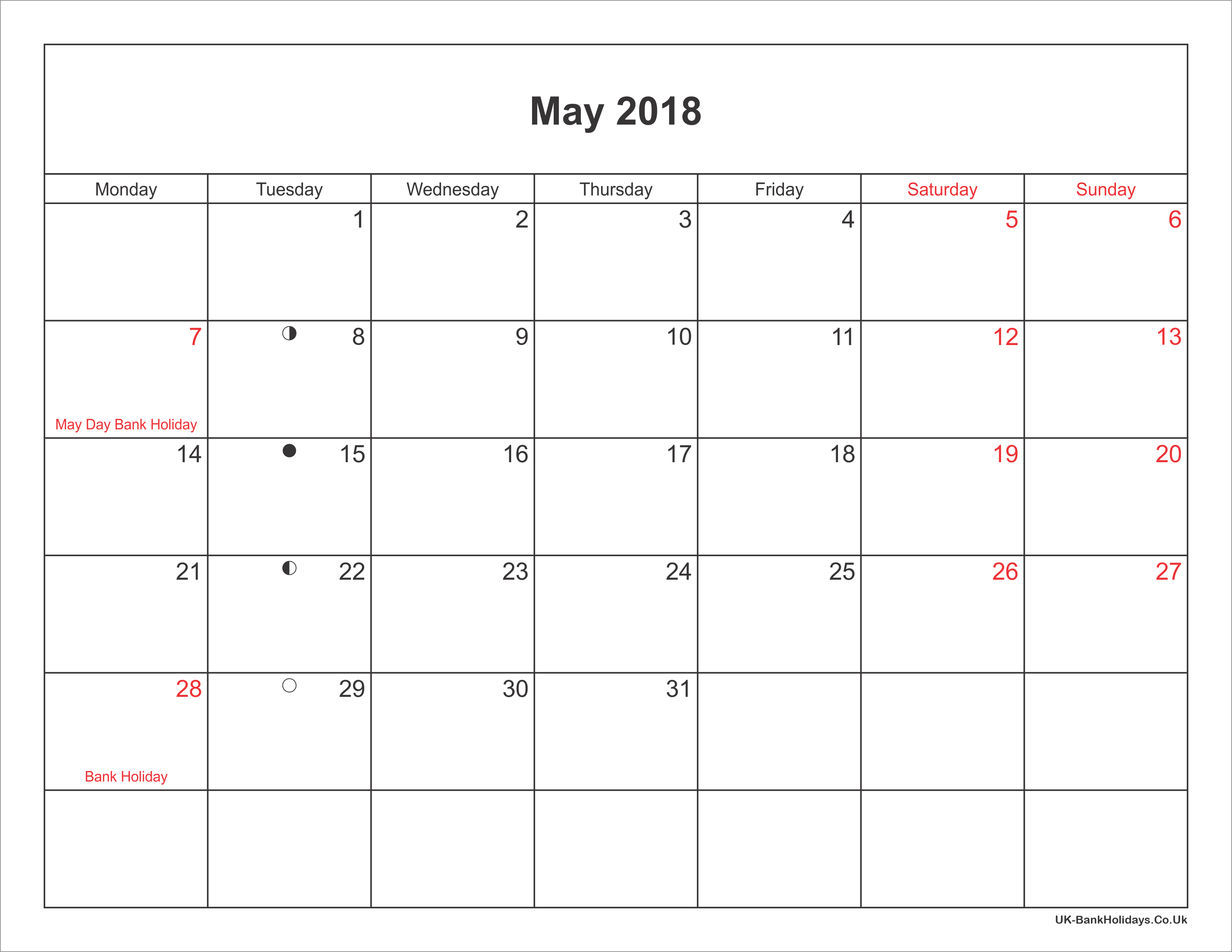 Calendar May Uk : May calendar printable with bank holidays uk