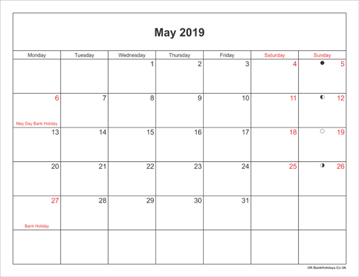 May 2019 Calendar Printable with Bank Holidays UK Landscape