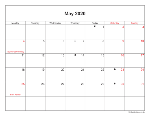 May 2020 Calendar Printable with Bank Holidays UK Landscape