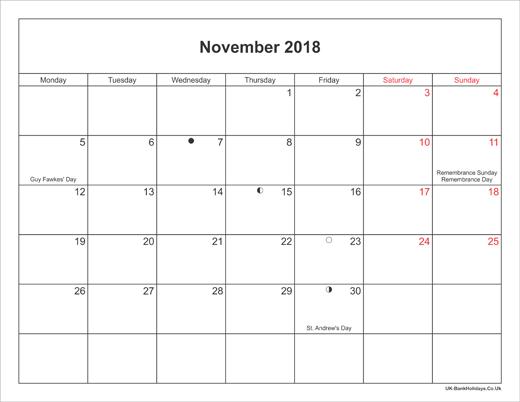 november 2018 calendars dates