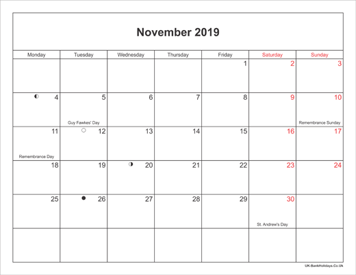 November 2019 Calendar Printable with Bank Holidays UK Landscape