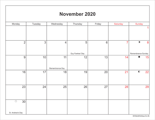 Nov 2020 Calendar With Holidays November 2020 Calendar Printable with Bank Holidays UK