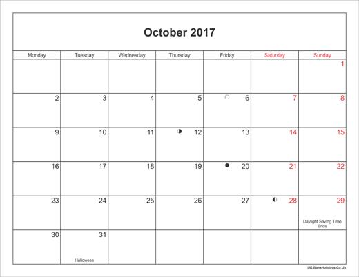 oct 2017 calendar printable