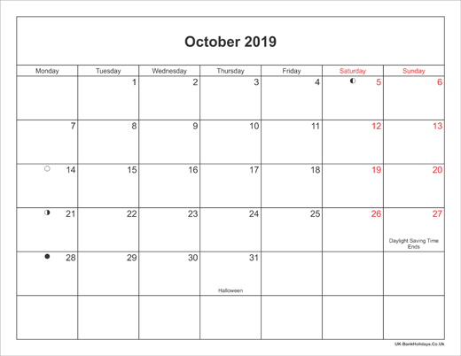 October Calendar 2019 With Holidays Suyhi Margarethaydon Com