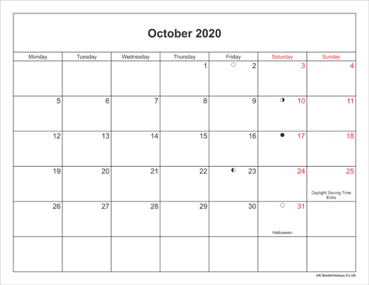 October 2020 Printable Calendar.October 2020 Calendar Printable With Bank Holidays Uk