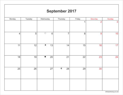 September 2017 Calendar Printable with Bank Holidays UK Landscape