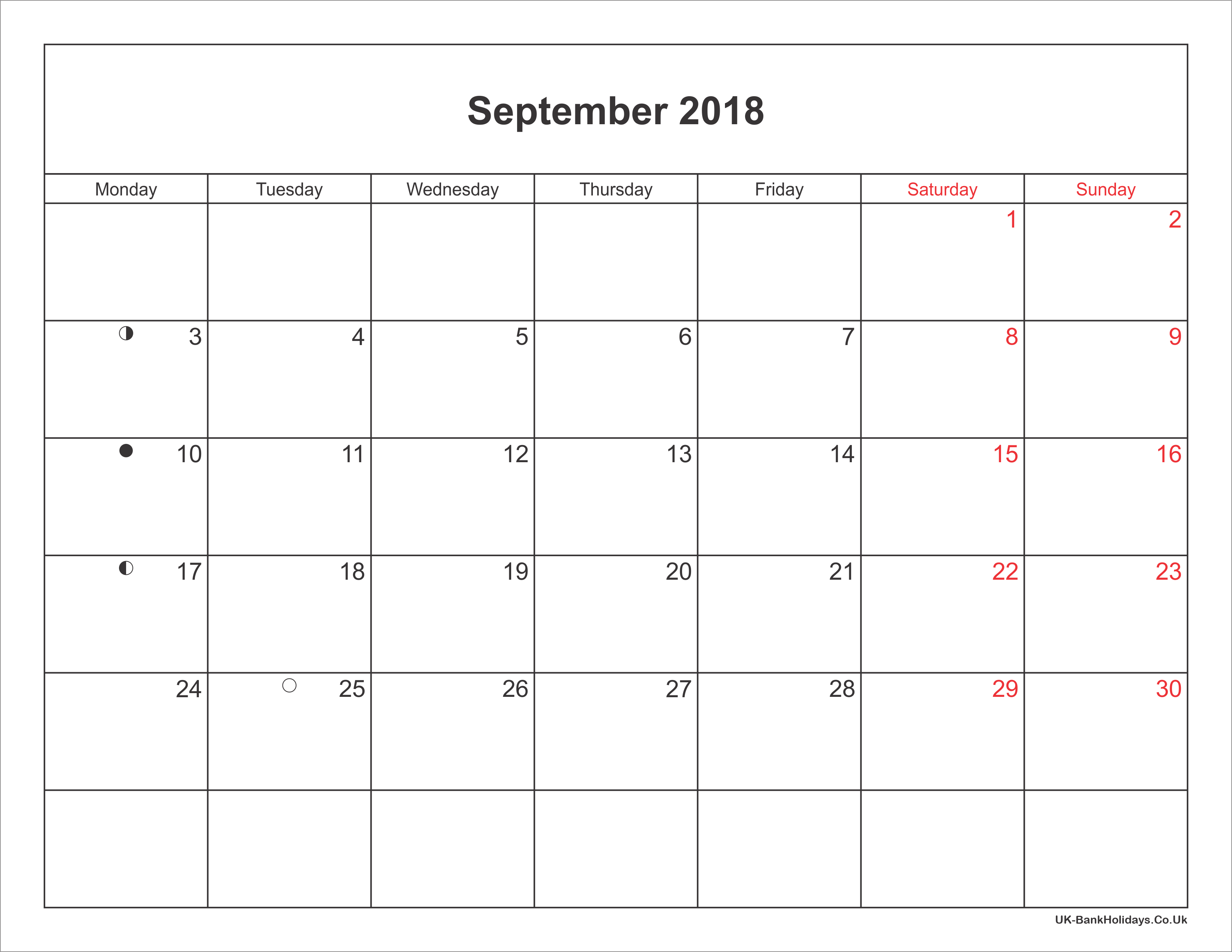 September Calendar 2018 Uk : September calendar printable with bank holidays uk