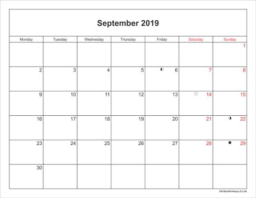 September 2019 Calendar Printable With Bank Holidays Uk