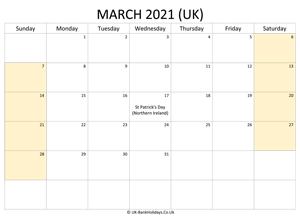 editable march 2021 uk calendar