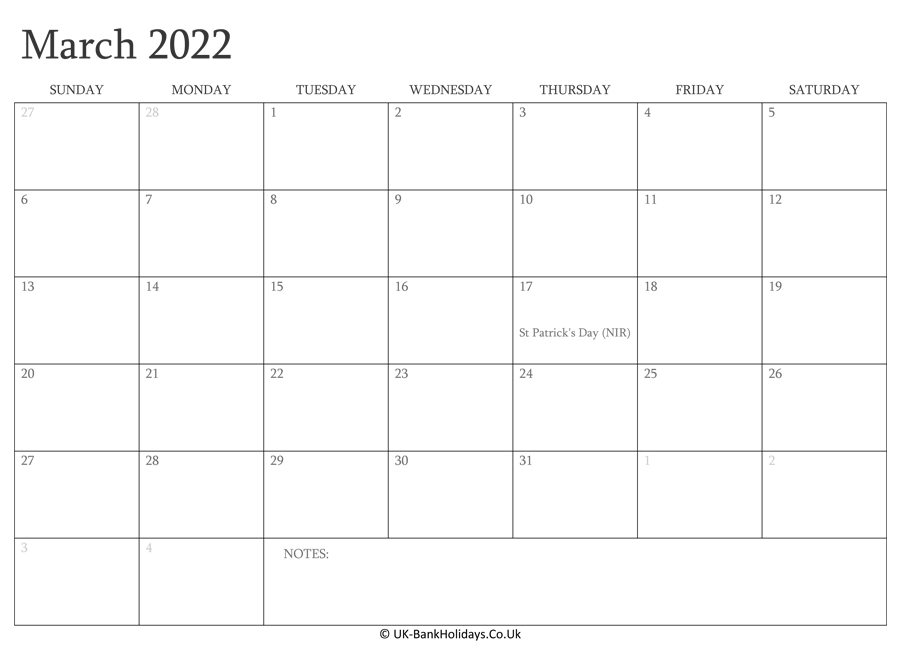Download March 2022 Editable Uk Calendar With with Holidays