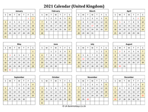 printable 2021 uk calendar weeks start on sunday (landscape)