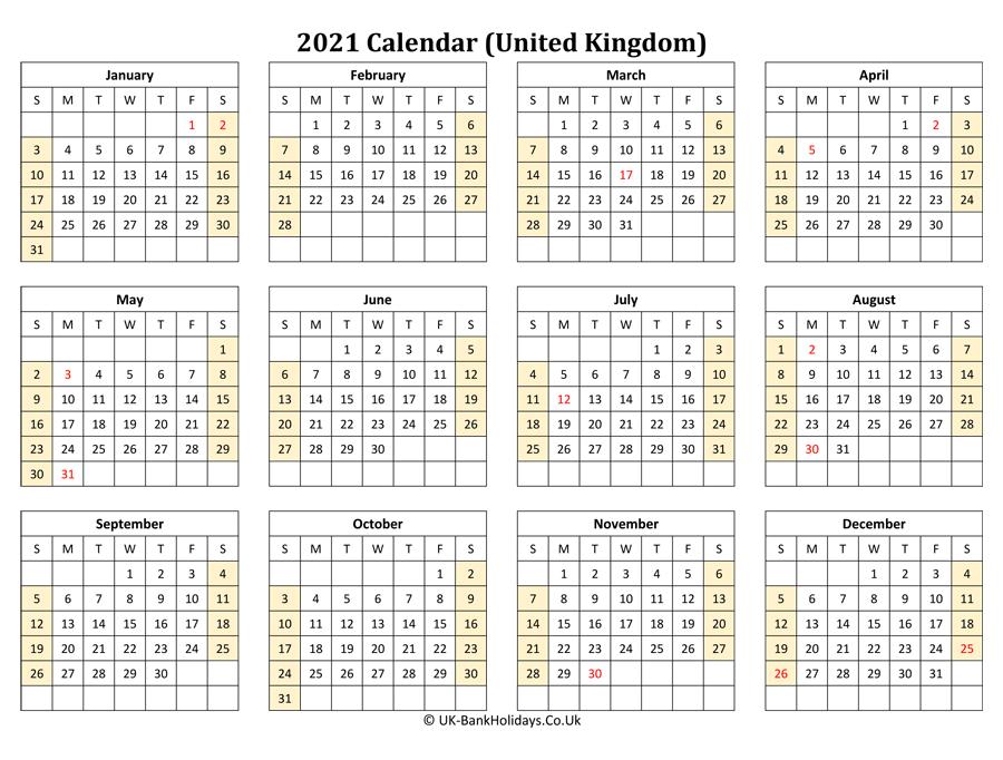 Download Printable 2021 Uk Calendar (Landscape Layout)