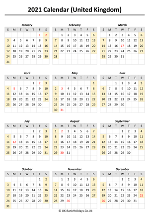 printable 2021 uk calendar weeks start on sunday (portrait)