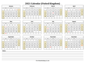 yearly uk calendar 2021 with notes weeks start on sunday (landscape)
