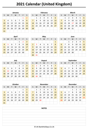 yearly uk calendar 2021 notes weeks start on sunday (portrait)